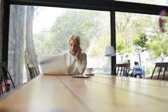 Bella ragazza con i capelli di scarsità che parla su un telefono cellulare mentre sedendosi in un caffè Immagine Stock Libera da Diritti