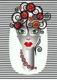 Bella ragazza con i fiori e la decorazione delle arricciature royalty illustrazione gratis