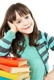 Bella ragazza con i libri di banco Immagine Stock Libera da Diritti