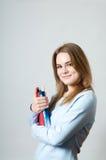 Bella ragazza con i manuali Fotografie Stock