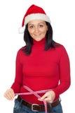 Bella ragazza con il cappello di natale Fotografia Stock Libera da Diritti