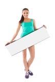 Bella ragazza con il cartello bianco Fotografia Stock Libera da Diritti