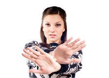 Bella ragazza con il fanale di arresto Fotografia Stock