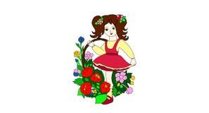 Bella ragazza con il fiore illustrazione vettoriale