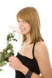 Bella ragazza con il fiore bianco Immagini Stock Libere da Diritti