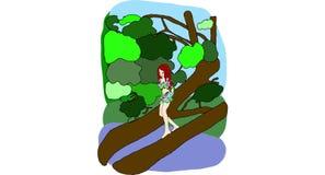 Bella ragazza con il fiore nel lago illustrazione vettoriale