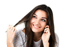 Bella ragazza con il telefono mobile Fotografia Stock