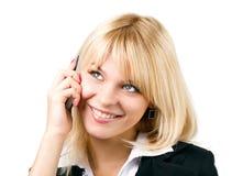 Bella ragazza con il telefono mobile Fotografie Stock Libere da Diritti