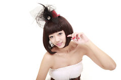 Bella ragazza con l'acconciatura piacevole Fotografia Stock Libera da Diritti