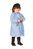 Bella ragazza con l'uniforme prescolare Immagine Stock