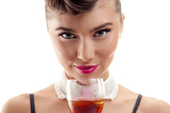 Bella ragazza con la bevanda Immagini Stock Libere da Diritti