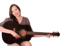 Bella ragazza con la chitarra Fotografia Stock Libera da Diritti