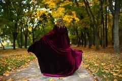Bella ragazza con la lanterna nel legno spaventoso di autunno Immagine di Halloween e di fantasia Donna Costumed nel parco fuori Immagini Stock