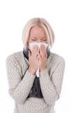 Bella ragazza con le allergie Fotografia Stock Libera da Diritti
