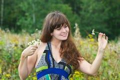 Bella ragazza con le margherite nel campo Immagini Stock