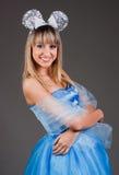 Bella ragazza con le orecchie di mouse festive Fotografie Stock Libere da Diritti
