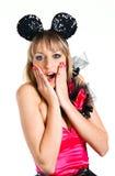 Bella ragazza con le orecchie di mouse, sorprese Immagine Stock