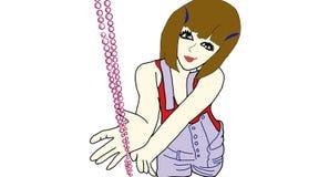 Bella ragazza con le perle illustrazione di stock