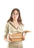 Bella ragazza con molti libri Fotografia Stock Libera da Diritti