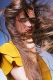 Bella ragazza con pelle perfetta e capelli lunghi Immagini Stock Libere da Diritti