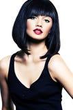 Bella ragazza con pelle perfetta, rossetto rosso Fotografia Stock
