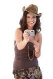 Bella ragazza con sorridere della macchina fotografica Immagini Stock Libere da Diritti