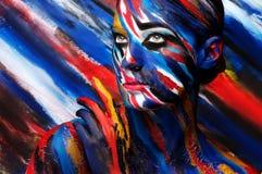 Bella ragazza con trucco colorato luminoso immagini stock