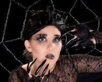 Bella ragazza con trucco del ragno fotografia stock libera da diritti