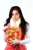Bella ragazza con un regalo Fotografie Stock