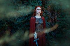 Bella ragazza con una condizione e uno sguardo della spada fotografie stock libere da diritti