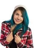 Bella ragazza dei pantaloni a vita bassa che sorride con il divertimento Fotografie Stock Libere da Diritti
