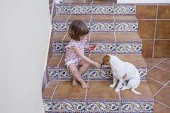 Bella ragazza del bambino che mangia anguria con il suo piccolo cane bianco sveglio Amore della famiglia ed aria aperta di stile  fotografie stock libere da diritti