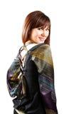 Bella ragazza del brunette isolata su bianco Fotografie Stock Libere da Diritti
