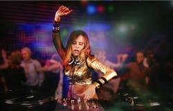 Bella ragazza del DJ Immagini Stock Libere da Diritti