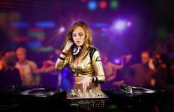 Bella ragazza del DJ Fotografia Stock