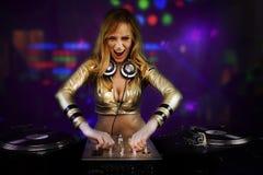 Bella ragazza del DJ Fotografie Stock