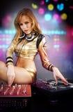 Bella ragazza del DJ Fotografie Stock Libere da Diritti