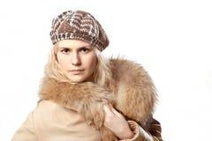Bella ragazza del whitehair con il kepi Immagine Stock Libera da Diritti