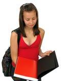 Bella ragazza dell'allievo con il sacchetto Immagine Stock Libera da Diritti