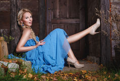 Bella ragazza di autunno nel vestito blu Fotografia Stock Libera da Diritti