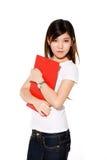 Bella ragazza di istituto universitario con l'archivio rosso Fotografia Stock