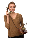 Bella ragazza felice che parla sul retro telefono Fotografia Stock