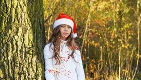 Bella ragazza felice con i supporti del cappello di Santa accanto all'albero immagini stock libere da diritti