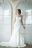 Bella ragazza felice della sposa in vestito bianco da nozze Immagini Stock Libere da Diritti
