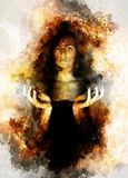 Bella ragazza misteriosa nello spazio cosmico Colore di seppia fotografia stock