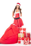 Bella ragazza nel vestito del Babbo Natale Fotografie Stock