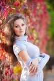 Bella ragazza nella sosta di autunno Fotografia Stock