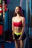 Bella ragazza sensuale femminile attraente che fa allenamento di forma fisica con la macchina del cavo alla palestra Fotografia Stock