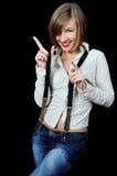 Bella ragazza sorridente con la barretta in su immagini stock libere da diritti