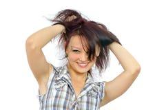 Bella ragazza sorridente in rivestimento dell'assegno immagini stock libere da diritti